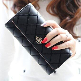 Promotions Lady Women Clutch Long Purse Leather Wallet Card Holder Handbag Bags Black - intl