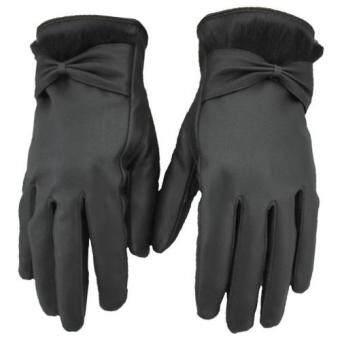 ถุงมือหนัง PU สำหรับใส่กันหนาว และ ทัชสกรีนหน้าจอได้ ลายตารางสีดำ /หญิง New Jacquard Unisex Touch Screen Soft Gloves Mitten WarmWinter Knit Black