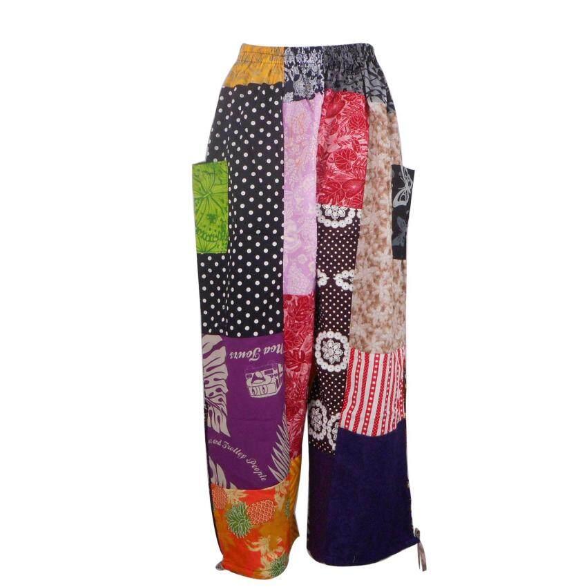 กางเกงผ้าต่อ กางเกงขายาว กางเกงผู้หญิง กางเกงผู้ชาย กางเกงเอวยืด กางเกงหลากสี - PW01-71