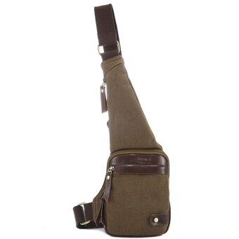 Q-shop Vintage Canvas Cross body Chest Bag Messenger Bag Lightweight Hiking Travel Outdoor Backpack for Men Women(Coffee) - intl