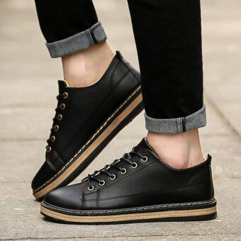 Qizhef Men's Fashion Retro Car Suture Lace-up Leisure Shoes (Black)- intl