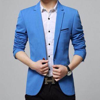 Qizhef Men's Korean youth small suit coat of cultivate one's morality Blue - intl