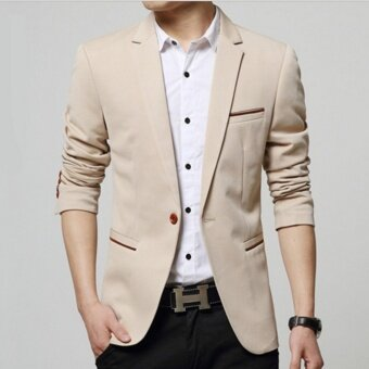 Qizhef Men's Korean youth small suit coat of cultivate one's morality Khaki - intl
