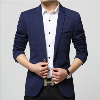 Qizhef Men's Korean youth small suit coat of cultivate one's morality Navy Blue - intl