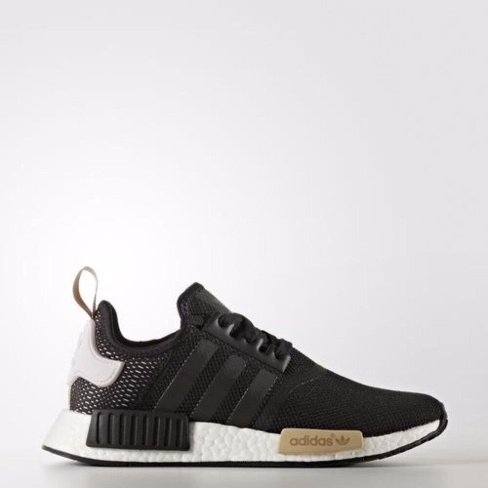 ยี่ห้อนี้ดีไหม  จันทบุรี รองเท้า Adidas Originals NMD R1  Mesh RUNNER  สีดำ ลายตาข่ายที่ส้นเท้า(แถบสีดำกับสีไอซ์เพอเพิล)