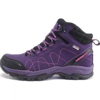 รองเท้า Merrto รองเท้าหนังแท้เกรดพรีเมี่ยม รองเท้าผู้หญิง สำหรับเดินป่าปีนเขา กันน้ำ รุ่น 8628 (สีม่วง)