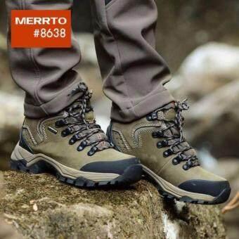 รองเท้าเดินป่า ปีนเขา กันน้ำ ขี่มอเตอร์ไซค์ รองเท้าหนังวัวแท้ รุ่น 8638 (สีกากี)