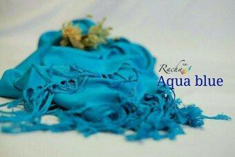 Racha ผ้าพันคอ ผ้าคลุมไหล่ คอตตอนซิลล์ (Cotton Silk) สี Aqua blue