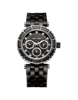 ประเทศไทย Rhythm นาฬิกาข้อมือ รุ่น C1103C04 - Black/Black