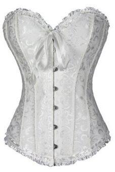 Ribbon Floral Satin Boned Bridal Corset (White)