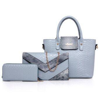 RichCoco (33) กระเป๋าแฟชั่นเกาหลี เซ็ต 3 ใบ (สีฟ้า)