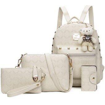RockLife กระเป๋าแฟชั่นเกาหลี กระเป๋าเป้สะพายหลัง +กระเป๋าสตางค์ผู้หญิง + กระเป๋าสะพายข้าง + พวงกุญแจหมี เซ็ต 4 ใบ(ครีม) - R1106
