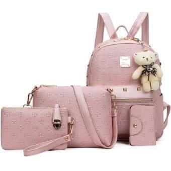 RockLife กระเป๋าแฟชั่นเกาหลี กระเป๋าเป้สะพายหลัง +กระเป๋าสตางค์ผู้หญิง + กระเป๋าสะพายข้าง + พวงกุญแจหมี เซ็ต 4 ใบ(สีชมพ) - R1106