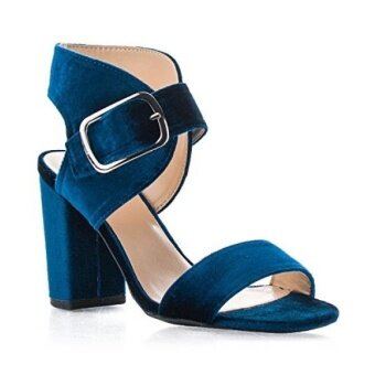 ROF Womens Velvet Open Toe Ankle Cuff Chunky Heeled Sandals TEAL - intl
