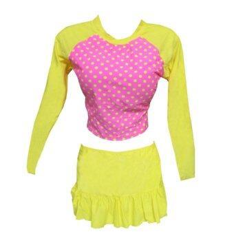 RUJI Swimwear ชุดว่ายน้ำ 2 ชิ้น ชุดทูพีช แขนยาว กระโปรง สีชมพูจุดเหลือง
