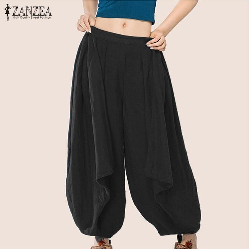 S-3XL ZANZEA Women Mid Waisted Casual Loose Long Long Trousers Summer Ladies Wide Leg Party Club Harem Pants Plus Size (Black) - intl