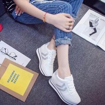 SABAI รองเท้าผ้าใบแฟชั้นผู้หญิงสไตล์เกาหลี A68 สีขาว - 4