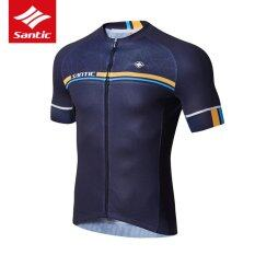 Santic Summer New Men Short Sleeve Cycling Jersey Sporty Model Breathable Quick-dry Tops Bike Bicycle Sports Clothing, Navy Blue - intl