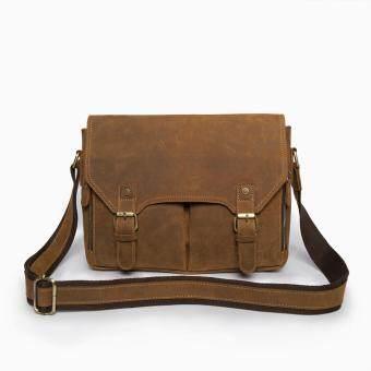 SAPA กระเป๋าสะพายข้าง กระเป๋าใส่เอกสารขนาด A4 กระเป๋าถือทรงนักเรียน หนังวัวCrazy Horse SC07