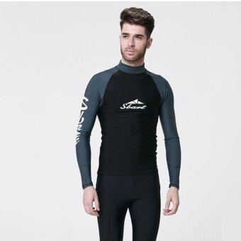 SBART ชุดว่ายน้ำ Mens SHARK ผิวชุดว่ายน้ำบุรุษสวมใส่ว่ายน้ำบุรุษฤดูร้อนว่ายน้ำชุดว่ายน้ำชุดว่ายน้ำชุดว่ายน้ำชุดว่ายน้ำสำหรับผู้ชายสีเทาและสีดำ