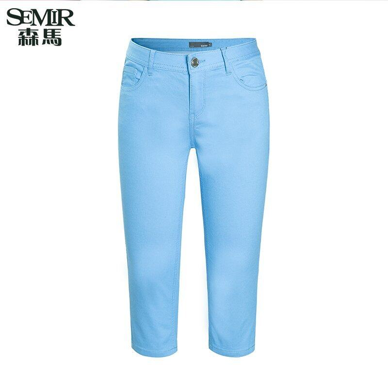 Semir Summer New Women Korean Casual Plain Zip Cropped Skinny Cotton Chinos Pants (Dark Blue)