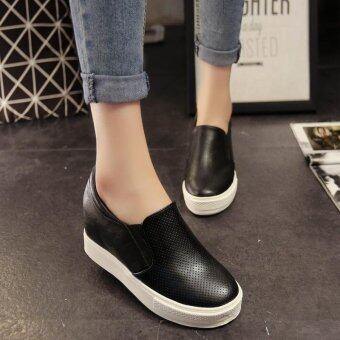 Set Foot All-match Thick Bottom in Korean Higher Muffin Bottom White Shoes(Black) - intl