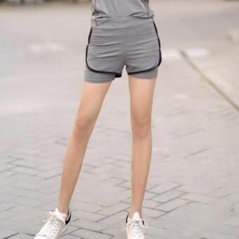 ซื้อ/ขาย SexySport กางเกงออกกำลังกายขาสั้น มีซับใน Fast Dry (สีเทา-ดำ)