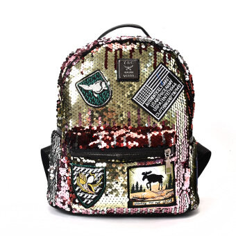 SHININGSTAR ลำลองเลื่อมฤดูร้อนเดินทางกระเป๋าเป้สะพายหลังกระเป๋าสะพายไหล่ (สีชมพู)