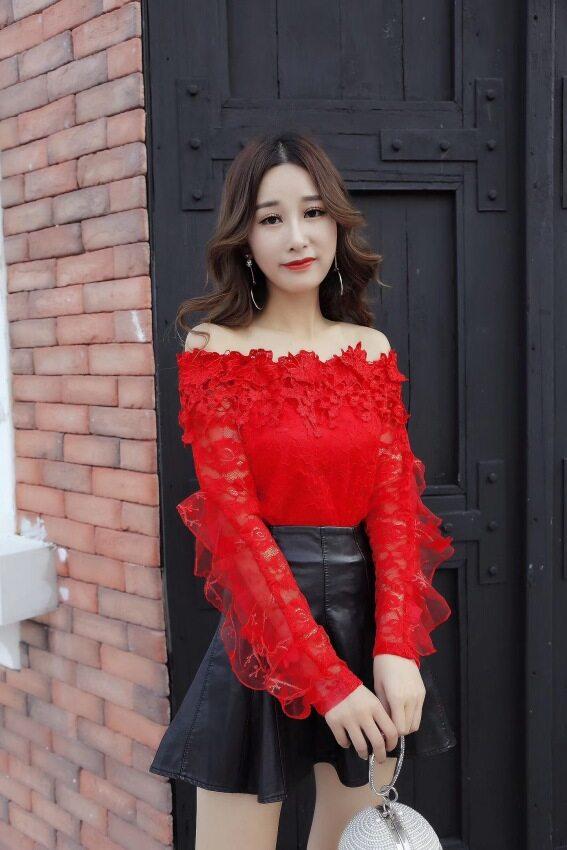 Shishang สุทธิเส้นด้ายลูกไม้เสื้อ bottoming เสื้อ (สีแดง)