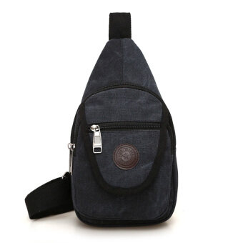 Shishang ผ้าใบผู้ชายกระเป๋าหน้าอกที่เดินทางมาพักผ่อน I กระเป๋าสะพายแพ็คเก็ต (สีดำ)