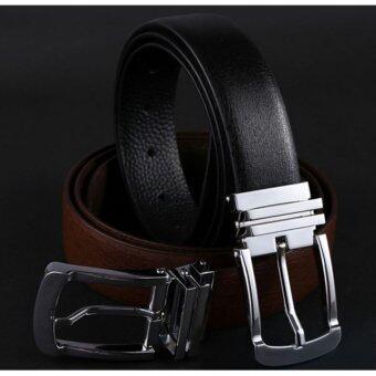 Siamcity mall เข็มขัดหนังแท้ เข็มขัดผู้ชาย เข็มขัดหนังแท้ผู้ชายเรียบหรู สีดำ- Mens genuine leather black belt