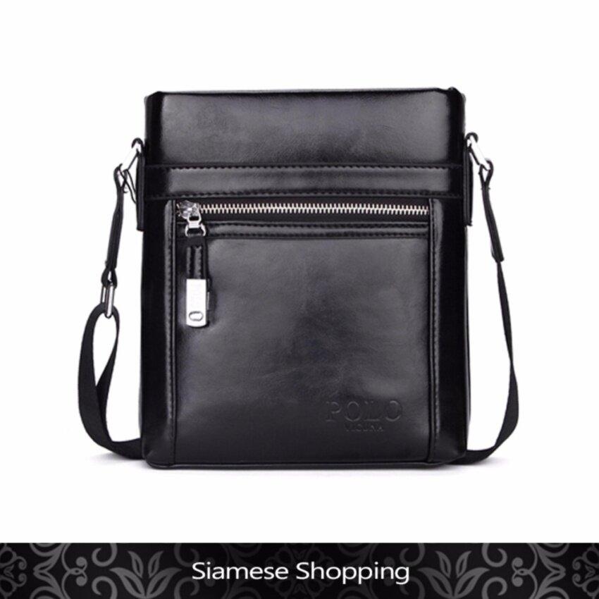 Siamese Shopping : กระเป๋าสะพายผู้ชาย กระเป๋าสะพายไหล่ สไตล์วินเทจ ขนาดกำลังพอดี ทำจากหนัง PU Leather สีดำ รุ่น V8806 จาก Vicuna Polo