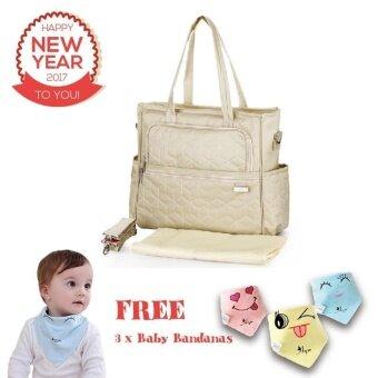 Simplicity Multi-function Baby Diaper Bag Convertible (Handbag/Messenger Bag) - Ivory Beige[Buy 1 Get 3 Freebies] - intl