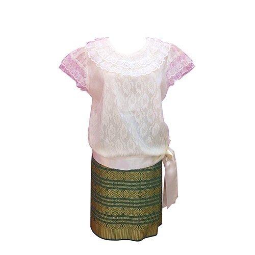 SIRIRAT ชุดไทย สมัย ร.7 เสื้อลูกไม้ (สีครีม) + กระโปรง ผ้าไทยแพรวา (สีเขียว)