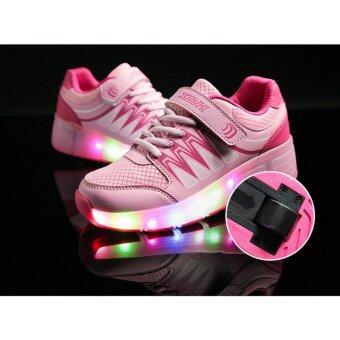 Skateboard Shoes รองเท้าเด็กเรืองแสง รองเท้ามีล้อ 1 ล้อ มีไฟ LEDเรืองแสง Size 31 - Pink
