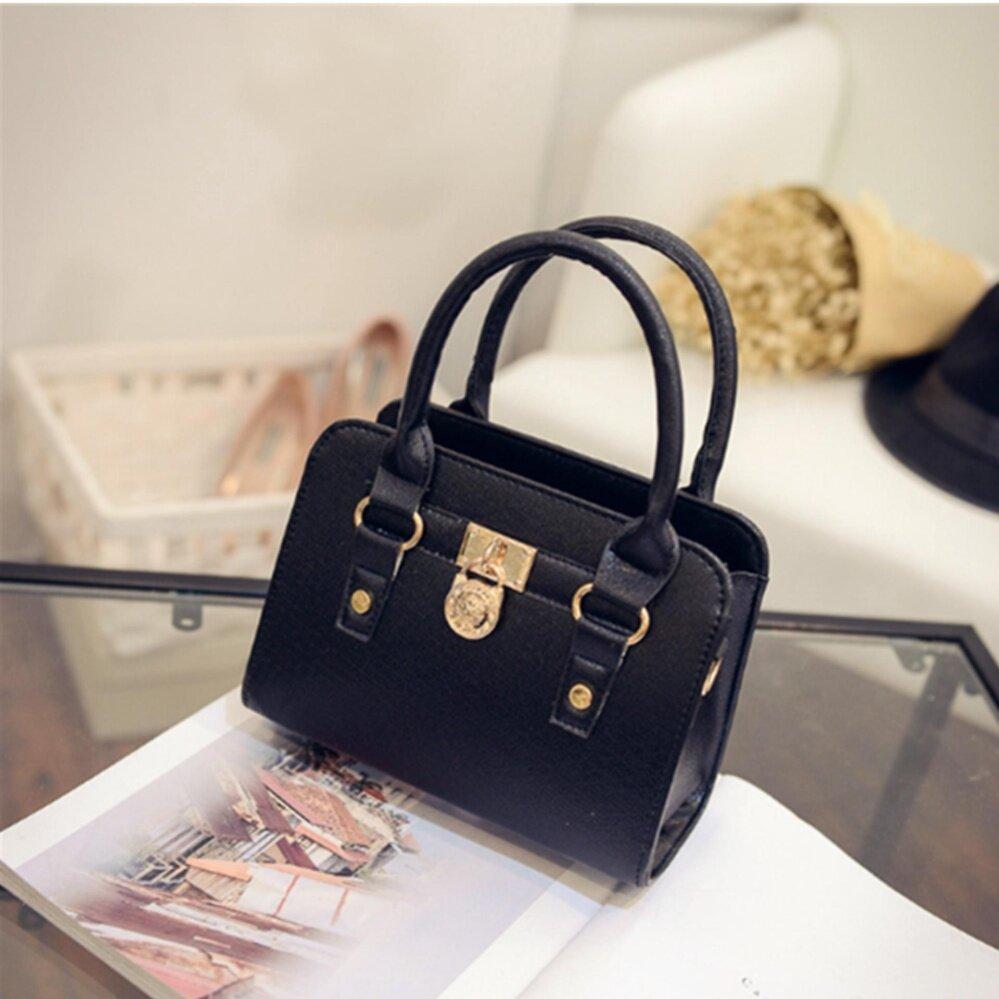 กระเป๋าเป้ นักเรียน ผู้หญิง วัยรุ่น ภูเก็ต กระเป๋าสะพายข้าง กระเป๋าเป้ผ้าไนลอน SKN607 Premium PU Leather Crossbody Bag NO 10019 black