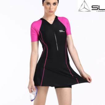 SL by Streamline ชุดว่ายน้ำสตรีวันพีช ซันสกรีน 1 ชุด เสื้อแขนสั้นกระโปรงมีกางเกงขาสั้นด้านใน สีชมพู-ดำ
