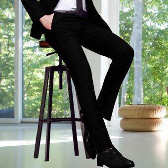 Slim fit Men Suit Pants Work Office Formal Black Pants Casual Mens Business Trousers - intl
