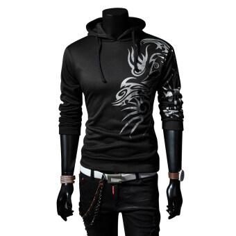 ผู้ชายเสื้อกันหนาว Slim Hoodie เสื้อกันหนาวสีดำ