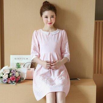 Small Wow Maternity Elegant Doll Collar Print chiffon Loose Above Knee Dress Pink - intl - 2