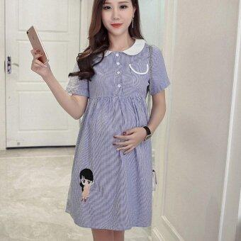 Harga Small Wow Maternity Fashion Doll Collar Print Cotton Loose AboveKnee Dress Blue - intl
