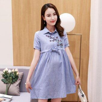 Harga Small Wow Maternity Fashion Turn-down Collar Print Cotton AboveKnee Dress Blue - intl