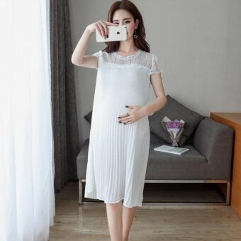 Harga Small Wow Maternity Going Out O-neck Solid Color chiffon LooseShort Dress White - intl