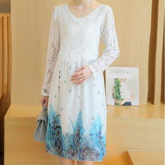 ... Small Wow Maternity Korean Round Print chiffon Loose Above Knee Dress White - intl - 3