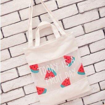 กระเป๋าถือ&สะพาย ผ้าแคนวาส+ PVC พิมพ์ลายน่ารักๆรุ่น BP4835 (สีครีม)