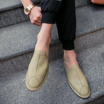 สไตล์อังกฤษนุ่ม soled ผู้ชายรองเท้าลำลองฤดูใบไม้ร่วงรองเท้า (สีกากี [ส่วนแผนที่หลัก])
