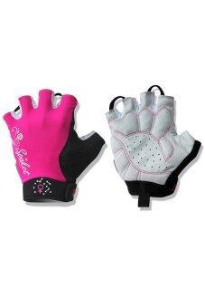SPAKCT Women's Cycling Short Finger Half Finger Gloves-Simple Love Pink (EXPORT)