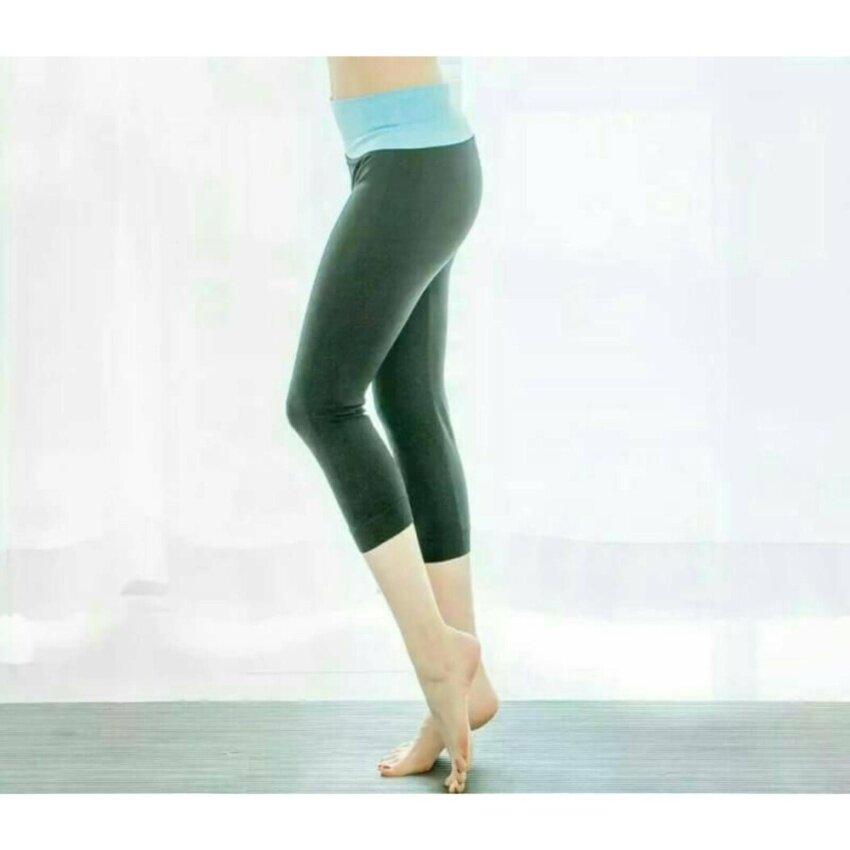 Sport Pants กางเกงสปอตทรงขายาว 5 ส่วน พื้นสีดำ-ขอบสีฟ้า