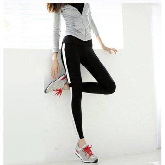 กางเกงโยคะคนอ้วน กางเกงฟิตเนส กางเกงออกกำลังกาย สาวไซส์ใหญ่ สาวอวบ รุ่น Sporty Girl (สีดำแถบขาว)