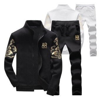 Stand Collar SportsOutdoors Zipper Jacket Winter Fashion Grey Jacket + Pants Suit Long Pants Men's Fashion Sport Suits Black - intl